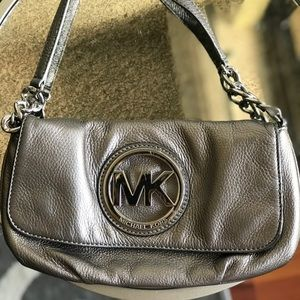 Michael Kors silver metallic purse